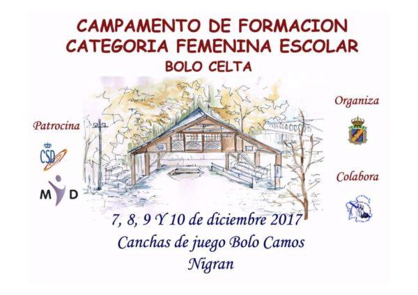 Cartel del Campamento de formación Categoría Femenina Escolar de Bolo Celta 2017
