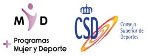 Logotipo del Consejo Superior de Deportes junto al logotipo del Programa Mujer y Deporte